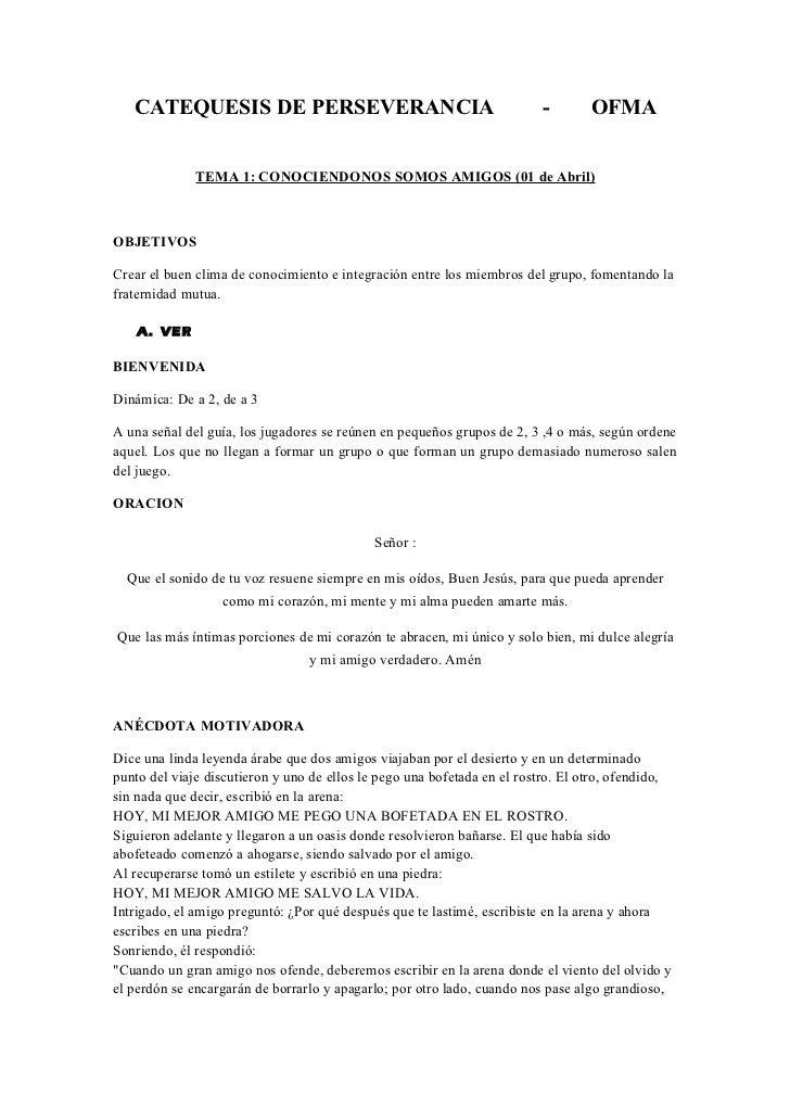 CATEQUESIS DE PERSEVERANCIA                                           -        OFMA              TEMA 1: CONOCIENDONOS SOM...