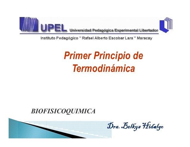 Primer Principio de TermodinámicaTermodinámica BIOFISICOQUIMICA Dra.BelkysHidalgoDra.BelkysHidalgoDra.BelkysHidalgoDra.Bel...