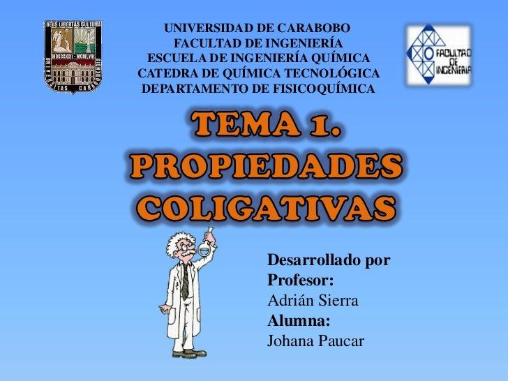 Tema 1. Propiedades Coligativas de Soluciones
