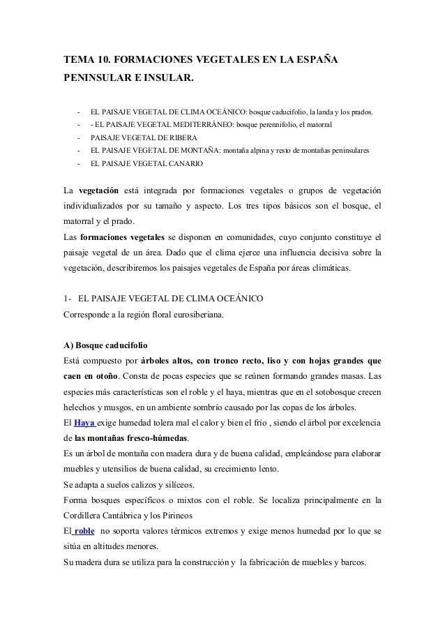 TEMA 10. FORMACIONES VEGETALES EN LA ESPAÑAPENINSULAR E INSULAR.   -   EL PAISAJE VEGETAL DE CLIMA OCEÁNICO: bosque caduci...