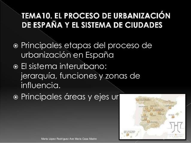  Principales etapas del proceso de urbanización en España  El sistema interurbano: jerarquía, funciones y zonas de influ...
