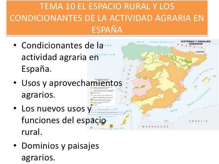 TEMA 10 EL ESPACIO RURAL Y LOSCONDICIONANTES DE LA ACTIVIDAD AGRARIA EN                  ESPAÑA• Condicionantes de la  act...