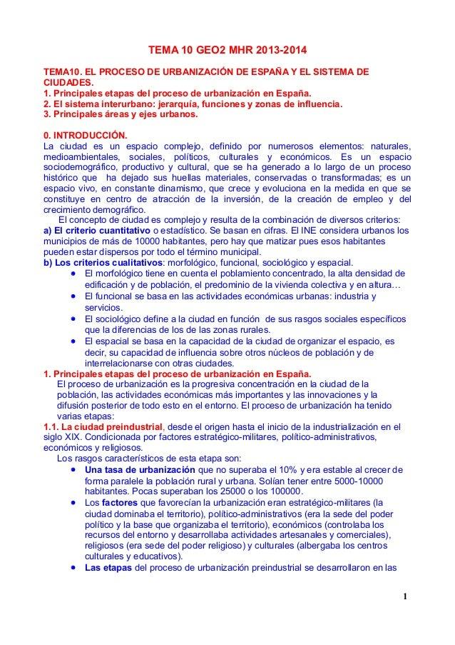 TEMA 10 GEO2 MHR 2013-2014 TEMA10. EL PROCESO DE URBANIZACIÓN DE ESPAÑA Y EL SISTEMA DE CIUDADES. 1. Principales etapas de...