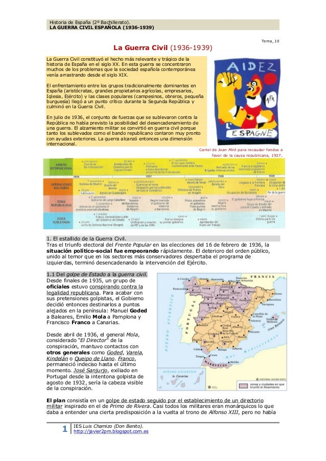 Historia de España (BCT2-BCS2)LA GUERRA CIVIL ESPAÑOLA (1936-1939)                                                        ...