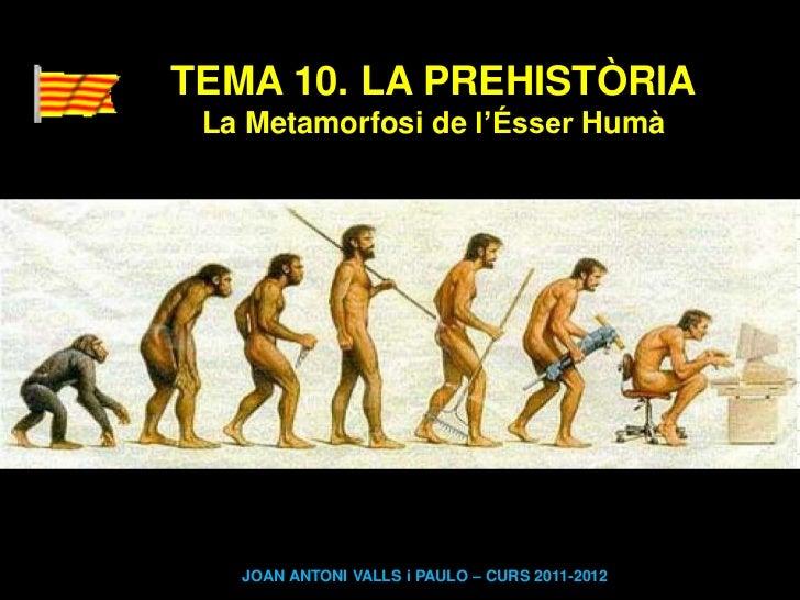 TEMA 10. LA PREHISTÒRIA La Metamorfosi de l'Ésser Humà   JOAN ANTONI VALLS i PAULO – CURS 2011-2012