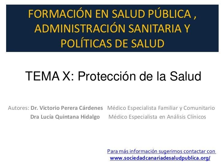 Protección de la salud, tema 10 del curso de formacón en Salud Publica