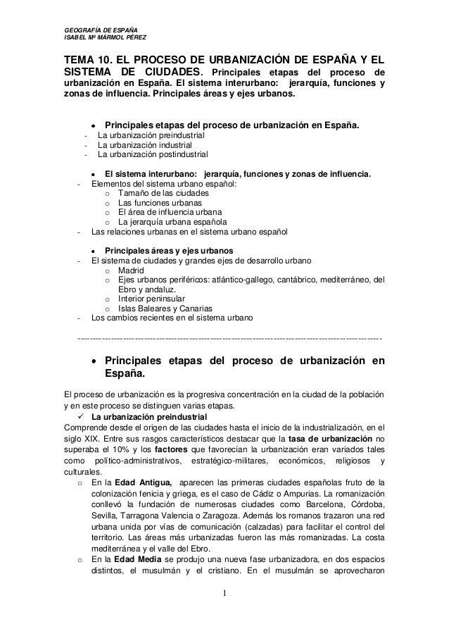 GEOGRAFÍA DE ESPAÑA ISABEL Mª MÁRMOL PÉREZ 1 TEMA 10. EL PROCESO DE URBANIZACIÓN DE ESPAÑA Y EL SISTEMA DE CIUDADES. Princ...