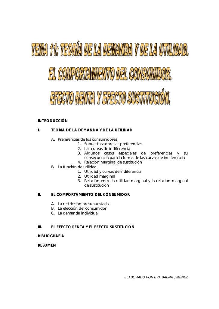 INTRODUCCIÓN  I.     TEORÍA DE LA DEMANDA Y DE LA UTILIDAD         A. Preferencias de los consumidores                    ...