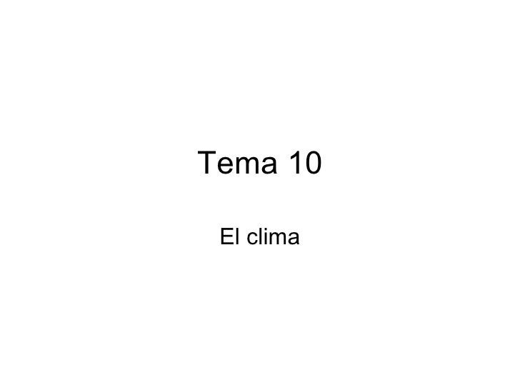 Tema 10 El clima