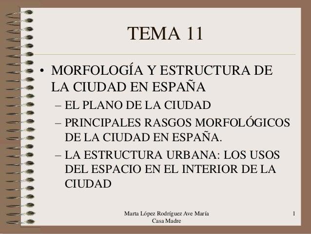 TEMA 11 • MORFOLOGÍA Y ESTRUCTURA DE LA CIUDAD EN ESPAÑA – EL PLANO DE LA CIUDAD – PRINCIPALES RASGOS MORFOLÓGICOS DE LA C...