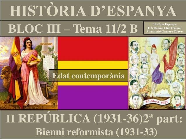 HISTÒRIA D'ESPANYA BLOC III – Tema 11/2 B Edat contemporània Història Espanya IES Ramon Llull (Palma) Assumpció Granero Cu...