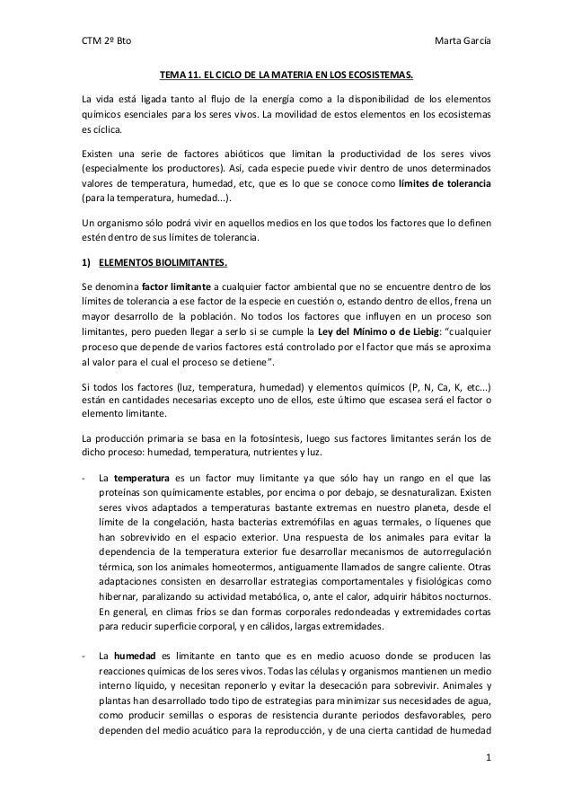 CTM 2º Bto  Marta García TEMA 11. EL CICLO DE LA MATERIA EN LOS ECOSISTEMAS.  La vida está ligada tanto al flujo de la ene...
