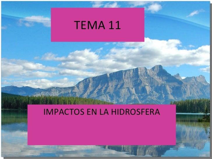 TEMA 11 IMPACTOS EN LA HIDROSFERA