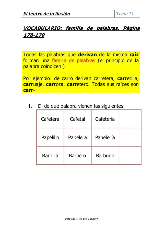 El teatro de la ilusión Tema 11CEIP MANUEL FERNÁNDEZVOCABULARIO: familia de palabras. Página178-179Todas las palabras que ...