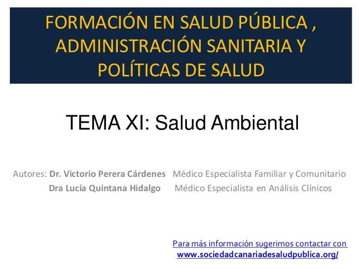 Salud ambiental, tema 11 del curso de formacion en Slud Pública