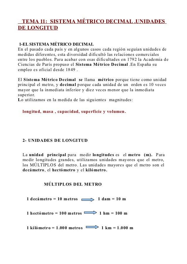 TEMA 11: SISTEMA MÉTRICO DECIMAL .UNIDADESDE LONGITUD 1-EL SISTEMA MÉTRICO DECIMALEn el pasado cada país y en algunos caso...