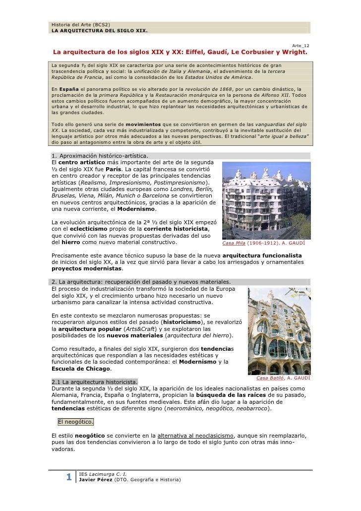Historia del Arte (BCS2)LA ARQUITECTURA DEL SIGLO XIX.                                                                    ...