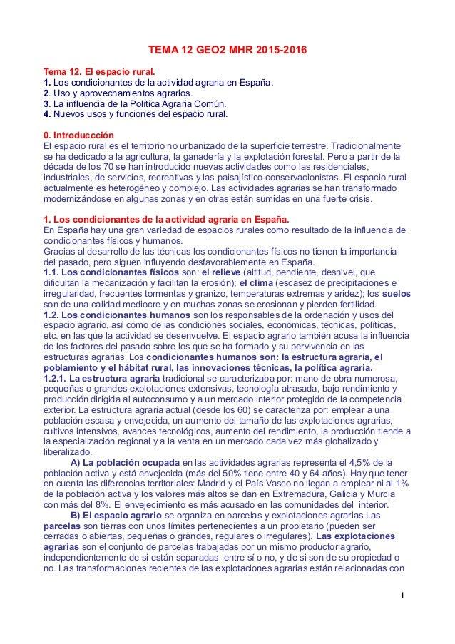 TEMA 12 GEO2 MHR 2015-2016 Tema 12. El espacio rural. 1. Los condicionantes de la actividad agraria en España. 2. Uso y ap...