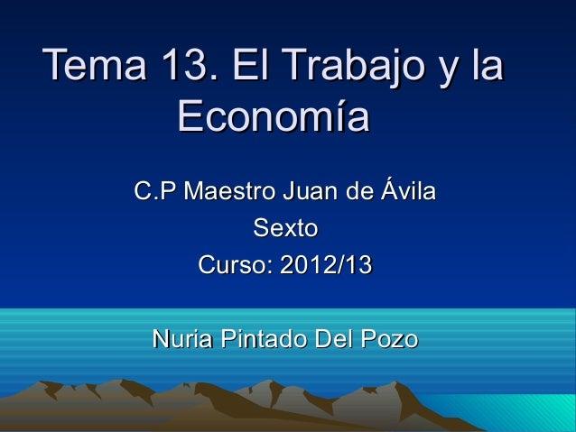 Tema 13. El Trabajo y laTema 13. El Trabajo y laEconomíaEconomíaC.P Maestro Juan de ÁvilaC.P Maestro Juan de ÁvilaSextoSex...