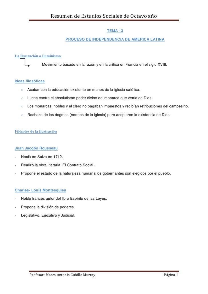 Resumen de Estudios Sociales de Octavo año                                                       TEMA 13                  ...