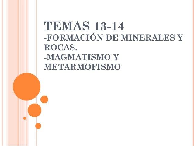 TEMAS 13-14-FORMACIÓN DE MINERALES YROCAS.-MAGMATISMO YMETARMOFISMO