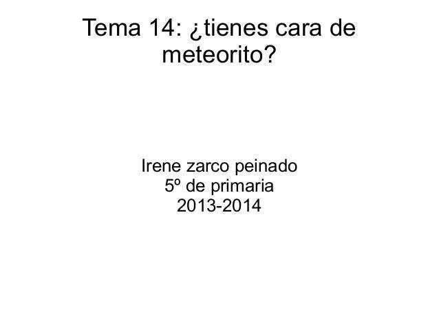 Tema 14: ¿tienes cara de meteorito? Irene zarco peinado 5º de primaria 2013-2014
