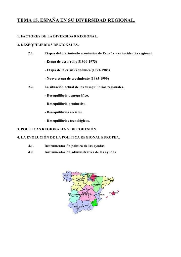 TEMA 15. ESPAÑA EN SU DIVERSIDAD REGIONAL.1. FACTORES DE LA DIVERSIDAD REGIONAL.2. DESEQUILIBRIOS REGIONALES.     2.1.   E...
