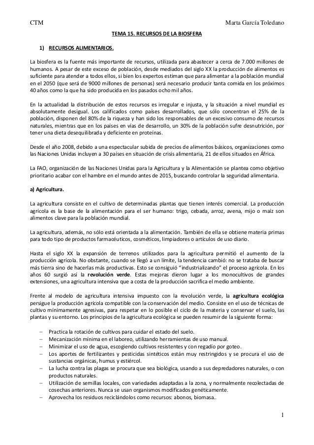 CTM  Marta García Toledano TEMA 15. RECURSOS DE LA BIOSFERA  1) RECURSOS ALIMENTARIOS. La biosfera es la fuente más import...