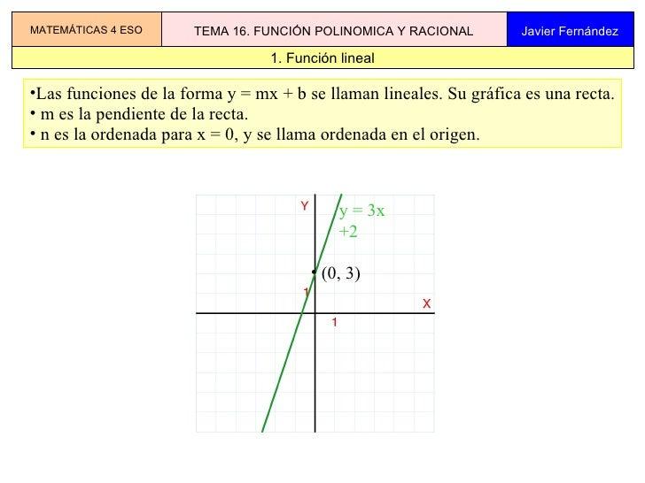 Tema 16 Funciones Potenciales, Polinomicas Y Racionales