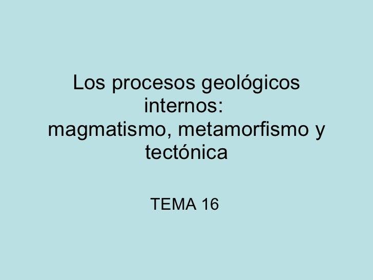 Los procesos geológicos internos:  magmatismo, metamorfismo y tectónica TEMA 16