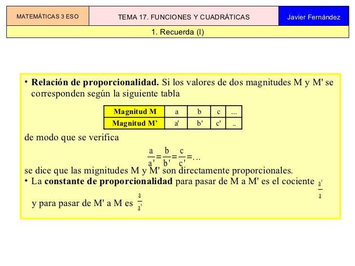 MATEMÁTICAS 3 ESO       TEMA 17. FUNCIONES Y CUADRÁTICAS          Javier Fernández                                   1. Re...