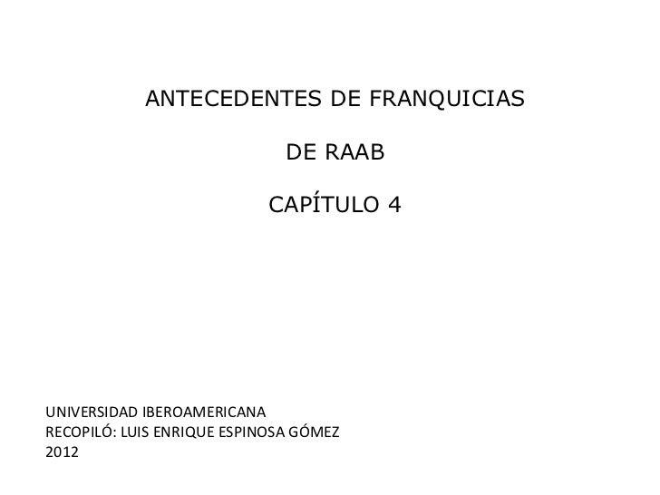 ANTECEDENTES DE FRANQUICIAS                              DE RAAB                            CAPÍTULO 4UNIVERSIDAD IBEROAME...