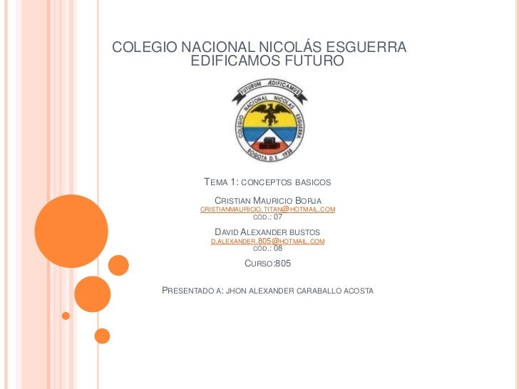 COLEGIO NACIONAL NICOLÁS ESGUERRA         EDIFICAMOS FUTURO              TEMA 1: CONCEPTOS     BASICOS                CRIS...