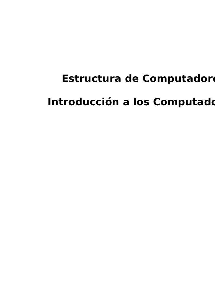 Estructura de ComputadoresIntroducción a los Computadores