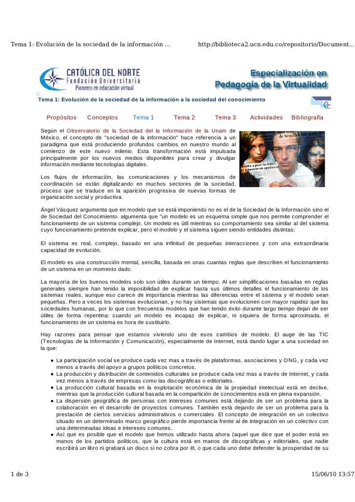 Tema 1. Evolución de la Sociedad de la Información a la Sociedad del Conocimiento