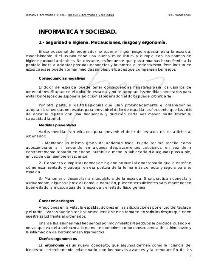 Optativa Informática 2º eso.- Bloque 1 Informática y sociedad                     Fco. Montesinos             INFORMATICA ...
