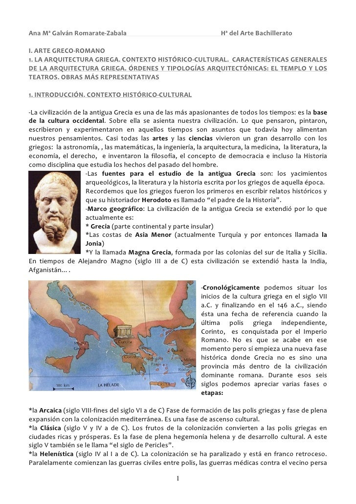 Ana Mª Galván Romarate-Zabala                                      Hª del Arte BachilleratoI. ARTE GRECO-ROMANO1. LA ARQUI...