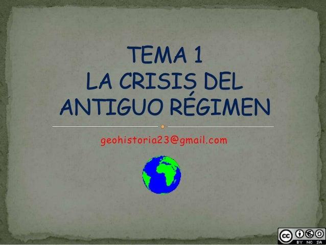 4º ESO Tema 1 La crisis del Antiguo Régimen