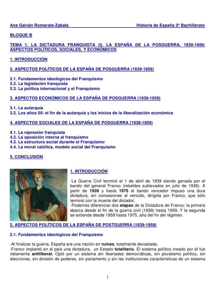 Tema 1 la dictadura franquista i