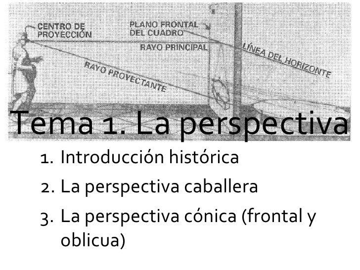 Tema 1. La perspectiva <ul><li>Introducción histórica </li></ul><ul><li>La perspectiva caballera </li></ul><ul><li>La pers...