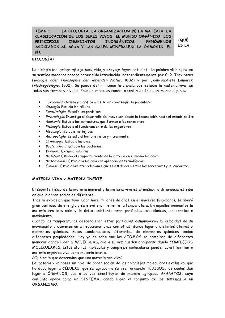 TEMA 1     LA       BIOLOGÍA. LA ORGANIZACIÓN DE LA MATERIA. LA CLASIFICACIÓN       DE LOS SERES VIVOS. EL MUNDO ORGÁNICO....