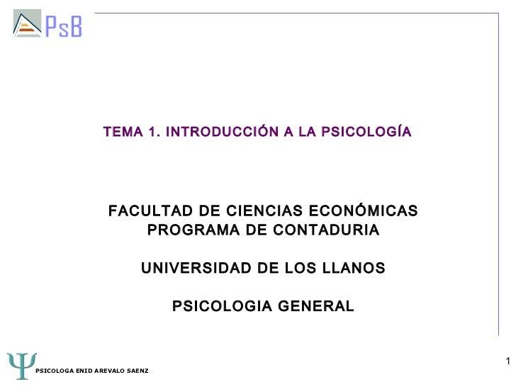 TEMA 1. INTRODUCCIÓN A LA PSICOLOGÍA                  FACULTAD DE CIENCIAS ECONÓMICAS                      PROGRAMA DE CON...