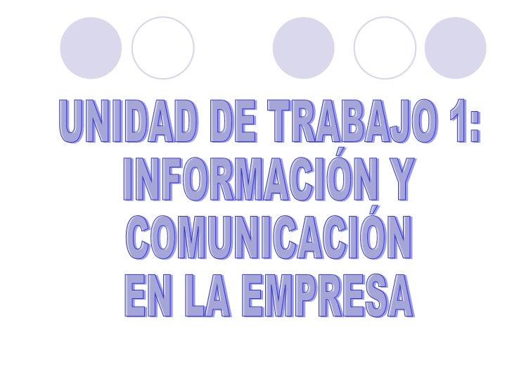 UNIDAD DE TRABAJO 1: INFORMACIÓN Y COMUNICACIÓN EN LA EMPRESA
