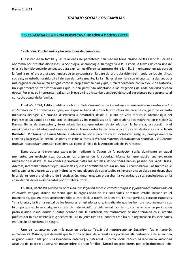 Página 1 de 11  TRABAJO SOCIAL CON FAMILIAS.  T.1-‐ LA FAMILIA DESDE UNA PERSPECTIVA HIST...