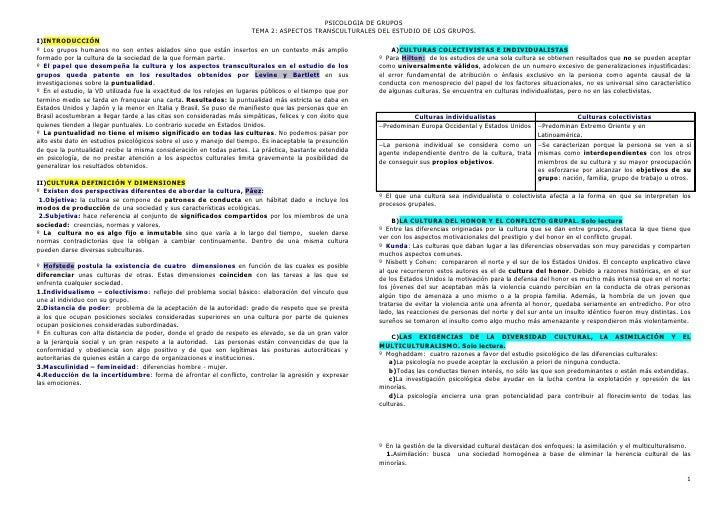 PSICOLOGIA DE GRUPOS                                                                       TEMA 2: ASPECTOS TRANSCULTURALE...