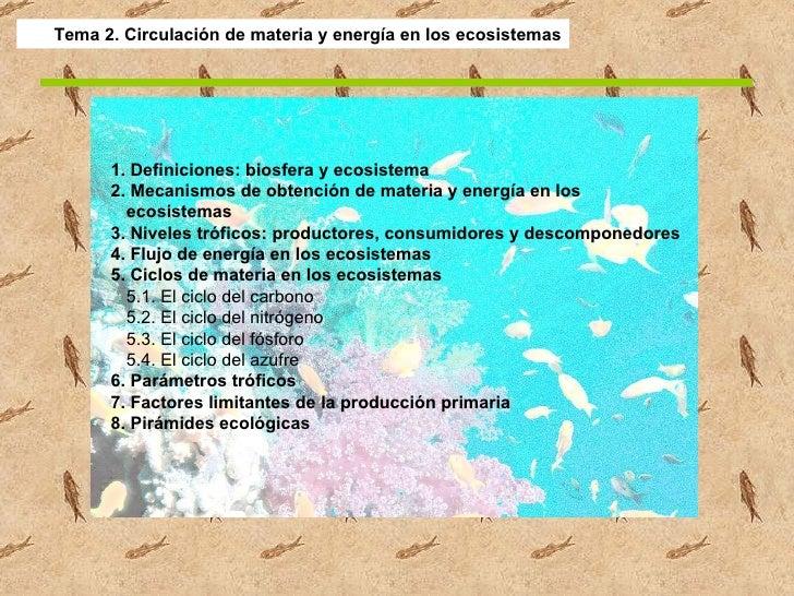 Tema 2. Circulación de materia y energía en los ecosistemas 1. Definiciones: biosfera y ecosistema 2. Mecanismos de obtenc...