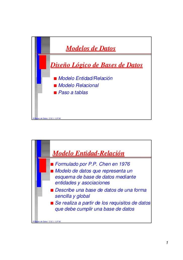 Modelos de Datos                     Diseño Lógico de Bases de Datos                         n Modelo Entidad/Relación    ...
