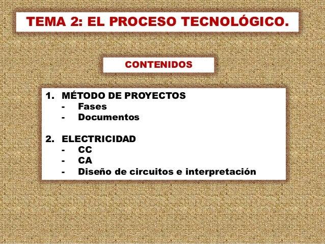 TEMA 2: EL PROCESO TECNOLÓGICO.                 CONTENIDOS  1. MÉTODO DE PROYECTOS     - Fases     - Documentos  2. ELECTR...