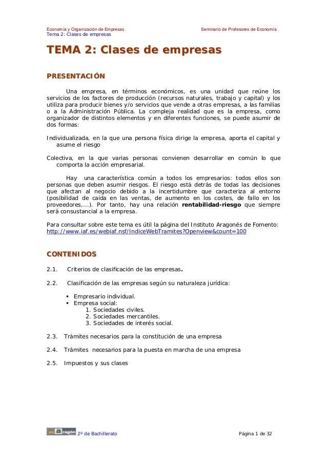 Economía y Organización de Empresas                      Seminario de Profesores de EconomíaTema 2: Clases de empresasTEMA...