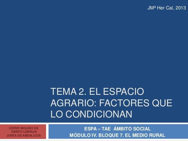 TEMA 2. EL ESPACIO AGRARIO: FACTORES QUE LO CONDICIONAN ESPA – TAE ÁMBITO SOCIAL MÓDULO IV. BLOQUE 7. EL MEDIO RURAL CEPER...